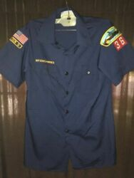 Official Cub Scout Uniform Blue Shirt Youth Large With Patches Boy Scouts Bsoa