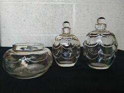 Baccarat Georges Chevalier Art Deco Set Crystal Bottles And Dish 1925 Rare