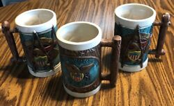 3 S. Wadsworth's Inn Colonial Style Raised Detail Eagle Ceramic Beer Mugs