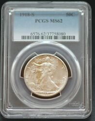 Pcgs Graded Ms 62 1918 S Fifty Cent Walking Liberty