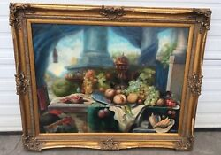 40 X 30 Gorgeous Realism Fruit And Garden By S Moran Oil On Canvas Newport Ri