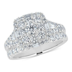 2.00 Cttw Diamond Square Cluster Bridal Set In 14k White Gold Christmas Special