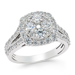 2 Ctw Diamond Cluster Engagement Ring 14k White Gold Christmas Special
