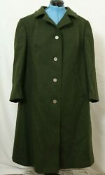 Vintage Julius Lang Trachten Jl Olive Wool Button Up Trench Coat Womenand039s 26