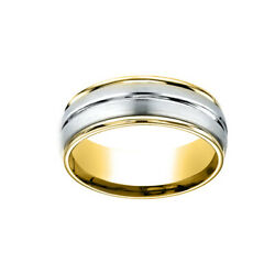 14k Two-toned 8mm Comfort-fit Polished Center Cut Carved Men's Band Ring Size11