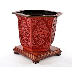 Chinese Deep Carved Carving Cinnabar Lacquer Planter Pot Jardiniere Wood Stand