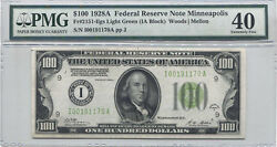 1928a 100 Federal Reserve Note Minneapolis Pmg Xf-40 Fr 2151 Light Green