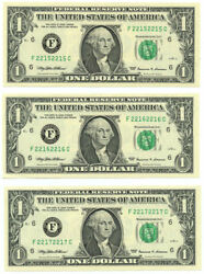 Lot Of 3 Gem Uncirculated 1 Frn Repeater Notes S/n F22152215c 2216c 2217c