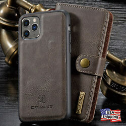 For iPhone 11 12 PRO MAX Leather Removable Wallet Magnetic Flip Card Case Cover