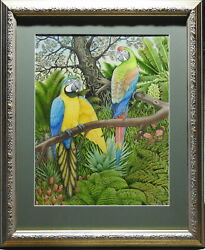 Peter Longhurst 1922- Original Painting South American Blue And Yellow Macaws