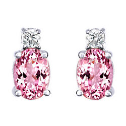 1.1 Ct Oval Cut Morganite And 1/8 Ct Diamond 14k White Gold Stud Earrings