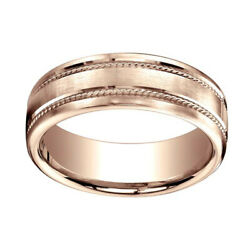 7.5mm Comfort Fit Satin Finish Rope Carved 14k Rose Gold Band Ring Sz 11