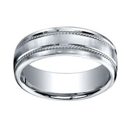 7.5mm Comfort Fit Satin Finish Rope Carved 14k White Gold Band Ring Sz 11