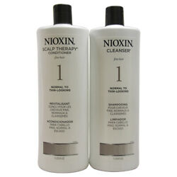 Nioxin System 1 Cleanser And Scalp Therapy Conditioner Duo For Unisex - 33.8 Oz