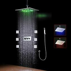 Ceiling Mounted Rainfall Led Shower Body Jets Stainless Steel 16 Gold