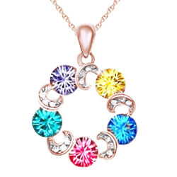 Multicolor Rhinestone Infinity Circle Crystal Elements Chain Necklace Rainbow