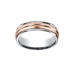 14k Two-toned 6mm Comfort-fit Satin Finish Center Cut Men's Band Ring Size 12