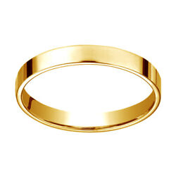 14k Yellow Gold 3 Mm Traditional Flat Wedding Band Ring Size 13
