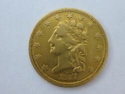 1837 Classic Head Quarter Eagle 2.5 Dollar Gold Nice Coin High Grade Early Date