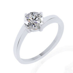 0.79ct Simulated Ideal Round Diamond 18k White Gold Classic Engagement Ring