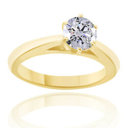 0.61 Ct Simulated Ideal Cut Round Diamond Cathedral Ring 14k Yellow Gold