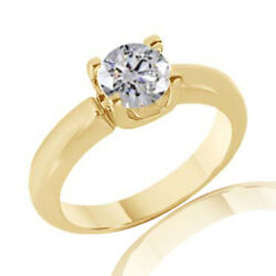 0.71 Ct Simulated Ideal Cut Round Diamond Classic Ring 14k Yellow Gold