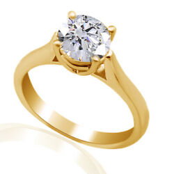 1.32 Ct Simulated Ideal Round Diamond Cathedral Engagement Ring 18k Yellow Gold