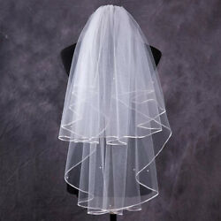 AG_ Two-layer Ribbon Edge Bridal Head Veil Comb Wedding Supply Photography Prop*