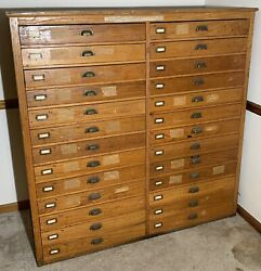 Antique Topo Topographical Map 26 Drawer Unit Cabinet. Very Neat