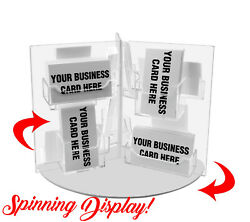 Business Card Holder Multi Pocket Acrylic Rotating Countertop Display Qty 12
