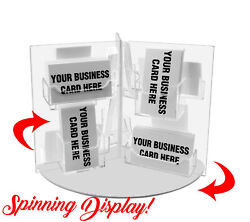 Business Card Holder Multi Pocket Acrylic Rotating Countertop Display Qty 24