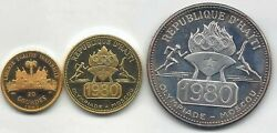 Haiti 20 50 And 500 Gourdes 1977 Olympics Moscow Silver And Gold 3 Values