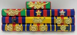 Cambodia Army Officer Military Medal Decoration Honors Ribbon Bar Rack 4