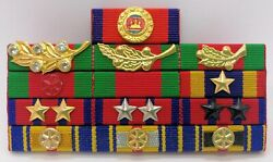 Cambodia Army Officer Military Medal Decoration Honors Ribbon Bar Rack 10