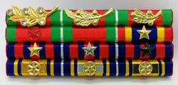 Cambodia Army Officer Military Medal Decoration Honors Ribbon Bar Rack 12