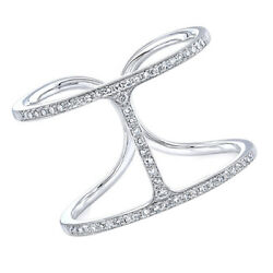 1/5 Ct Round Cut Diamond Solid 14k White Gold Initial H Ring