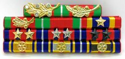 Cambodia Army Officer Military Medal Decoration Honors Jewel Ribbon Bar Rack 15