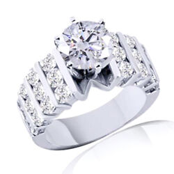 1.95ct Simulated Ideal Round Diamonds Wide Band Style Ring 14k White Gold