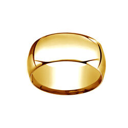 14k Yellow Gold 10mm High Dome Heavy Comfort-fit Wedding Band Ring Size 13