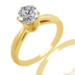 2.60ct Simulated Ideal Cut Round Diamond Cathedral Ring 18k Yellow Gold