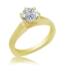 0.51ct Simulated Ideal Cut Round Diamond Classic Ring 18k Yellow Gold