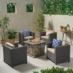 Christine Outdoor 4 Club Chair Chat Set With Fire Pit