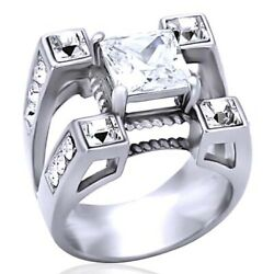 Men's Square Princess Cut Cubic Zirconia Silver White Gold Over Ring Size 8-14