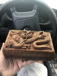 Hand Carved Chinese Wood Floating Dragon Unique Jewelry Box Rare