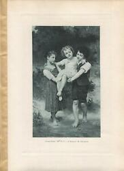 ANTIQUE VICTORIAN CHILDREN BARE FEET GIRL BROOK STREAM ELIZABETH GARDNER PRINT