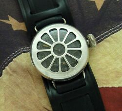 Menand039s 1918 Wwi Illinois Trench Watch W/ Integrated Shrapnel Guard - Serviced