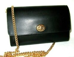 Coach 38966 Marlow Smooth Black Leather Turnlock Chain Crossbody Clutch NWT $195 $83.99