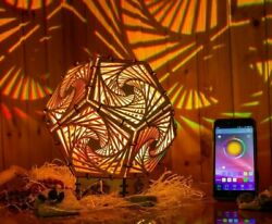 Interior Smart Led Lamp Spiral Psychedelic Sacreed Geometry Night Light Wood