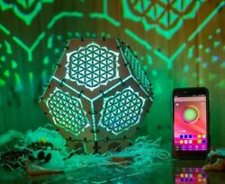 Interior Smart Led Lamp Flower Of Life Wooden Sacreed Geometry Psychedelic