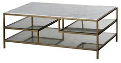 47 L Alessio Coffee Table White Marble Stone Top Tempered Glass Shelves Metal